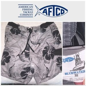 "Size 32"" AFTCO Bluewater Gray-Black Shorts"